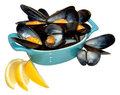 Cooked mussels fresh with lemon slices in a blue dish isolated on a white background Stock Photography