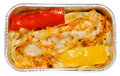 Cooked pasta with bell pepper in foil tray Royalty Free Stock Photo