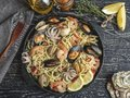 Cooked pasta with clams, shrimps, baby octopus, mussels tomato on a frying pan , spaghetti. Close up Royalty Free Stock Photo