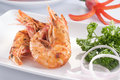 Cooked prawn on dish Stock Images