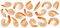 Cooked refined shrimps isolated on white background Stock Photo
