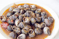 Cooked snails in greek salad Stock Images