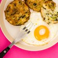 Cooked Vegetarian Bubble And Squeak Cakes With A Fried Egg Royalty Free Stock Photo