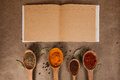 Cookery book with spices on brown parchment backgrownd Stock Images