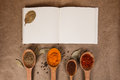 Cookery book with spices on brown parchment backgrownd Stock Image