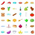Cookery icons set, cartoon style