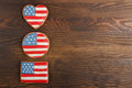 Cookie with american patriotic colors different shapes cookies on the wooden background Royalty Free Stock Photography