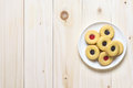 Cookie biscuits on wooden table Royalty Free Stock Photo