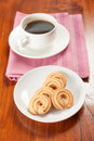 Cookie and coffee round shaped Royalty Free Stock Images
