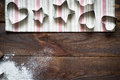 Cookie cutters on wooden table image tinting selective focus Royalty Free Stock Photos