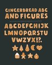 Cookie font with chocolate chips, full alphabet