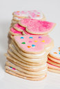 Cookie hearts stacks of valentines day sugar cookies Stock Images