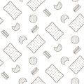 Cookie line icon seamless vector pattern.