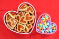 Cookie and love candies heart shape in bowl Stock Photos