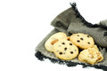 Cookie on napkin cracked black linen Stock Images