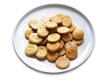 Cookie round cookies on a white plate isolated on white Stock Images