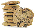 Cookie s chocolate chip in a pile on white Stock Images