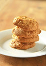 Cookie stacked cookies on brown wooden Royalty Free Stock Image