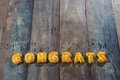 Cookies ABC in the form of word CONGRATS Royalty Free Stock Photo
