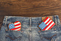 Cookies with american patriotic colors in the pockets different shapes denim s pocket Stock Photography
