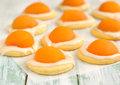Cookies with apricots and sugar icing Royalty Free Stock Photos