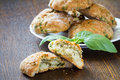 Cookies with basil and parmesan snack scones or Stock Image