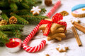 Cookies with candy and christmas tree Royalty Free Stock Photo