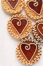 Cookies with caramel in the shape of heart Royalty Free Stock Photo