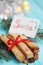 Cookies with a card that says Santa Royalty Free Stock Photo