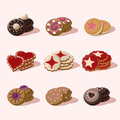 Cookies of Cartoon Vector Food Icons Royalty Free Stock Photo