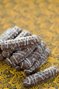 Cookies in chocolate cookie sticks on cardboard with yellow openwork pattern Stock Photo