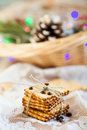 Cookies christmas gingerbread with lights Royalty Free Stock Image