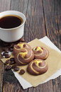 Cookies with coffee cup chocolate and of on old table Royalty Free Stock Photography