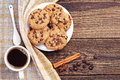 Cookies and coffee cup of plate of chocolate top view Stock Image