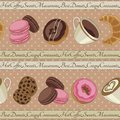 Cookies and coffee pattern beige yummy colorful chocolate donuts macaroons croissants cups of seamless Royalty Free Stock Photos