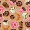 Cookies and coffee pattern light brown yummy colorful chocolate donuts cups of seamless Royalty Free Stock Photography