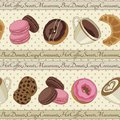 Cookies and coffee pattern light yellow yummy colorful chocolate donuts macaroons croissants cups of seamless Royalty Free Stock Image
