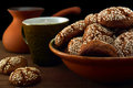 Cookies and coffee the picture is taken at artificial light group of lamps a softbox the support is used Royalty Free Stock Photos