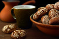 Cookies and coffee the picture is taken at artificial light group of lamps a softbox the support is used Royalty Free Stock Photography