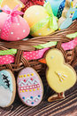 Cookies and colored eggs for easter day on the table Royalty Free Stock Photos