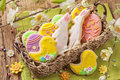 Cookies coloridas de easter Fotos de Stock Royalty Free