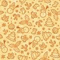 Cookies colors christmas vector seamless pattern in doodle style Royalty Free Stock Photos
