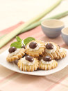 Cookies crunchy and delicious with choco chip and cream on it Royalty Free Stock Images