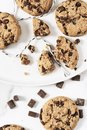 Cookies with dark chocolate chips and string on white plate. Royalty Free Stock Photo