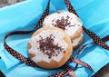 Cookies decorated with ribbon Royalty Free Stock Photography