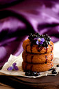 Cookies with elderberry jam on the table Royalty Free Stock Photo