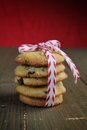 Cookies gift chocolate chips with a white and red ribbon Stock Image