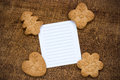 Cookies with a lined paper piece homemade blank for text Royalty Free Stock Images