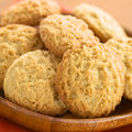 Cookies made with maca powder peruvian powdered or peruvian ginseng lat lepidium meyenii selective focus focus on the front of the Stock Photography