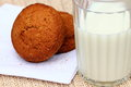 Cookies and milk oat glass of Royalty Free Stock Photography